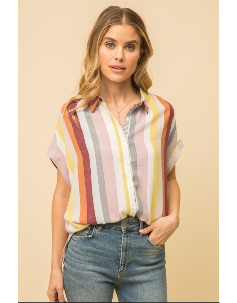 Button Front Stripe Shirt