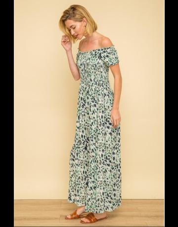 Printed Smocked Maxi Dress
