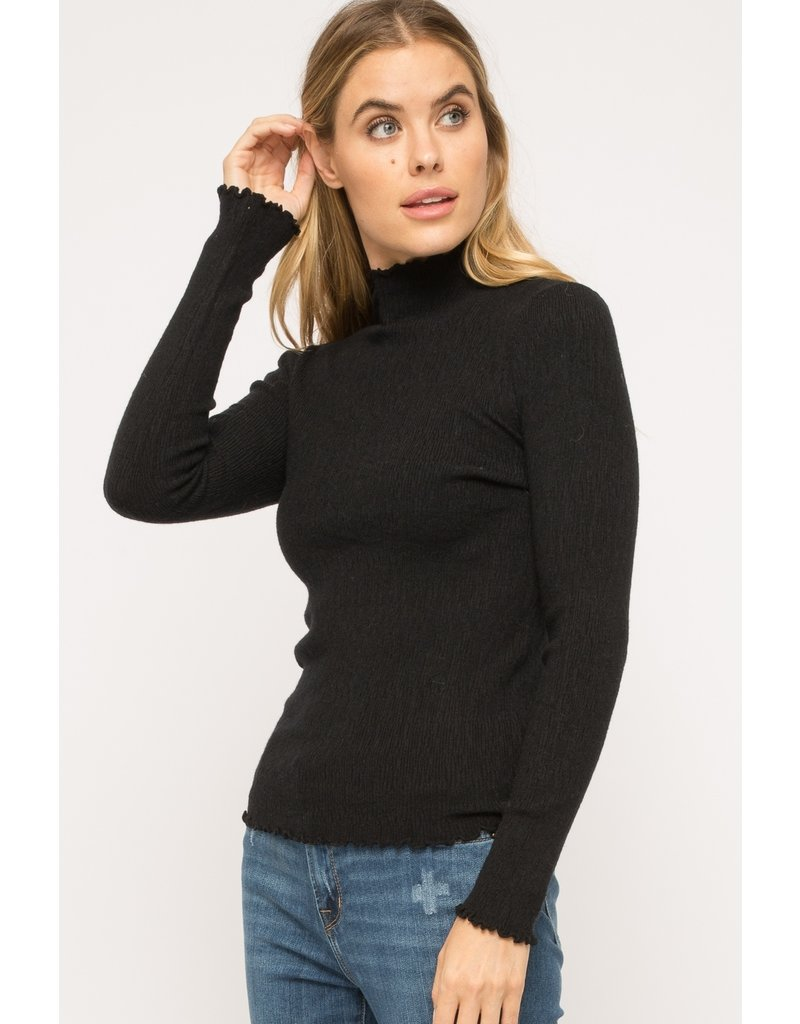 Corded Mock Neck Pullover