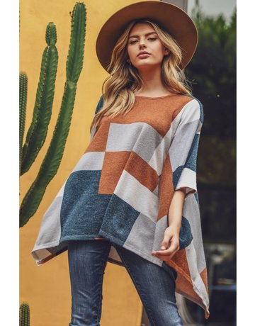 Colorblock Poncho Top