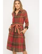 Plaid Trench Coat Dress