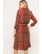 Mystree Plaid Trench Coat Dress
