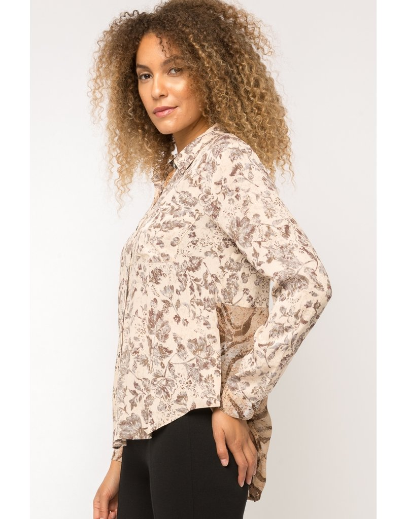 Back Button Print Mix Top