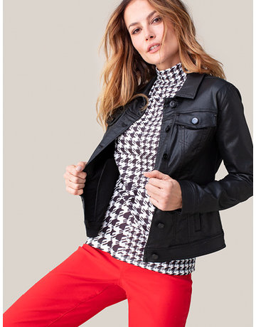 Houndstooth Mock Neck Top