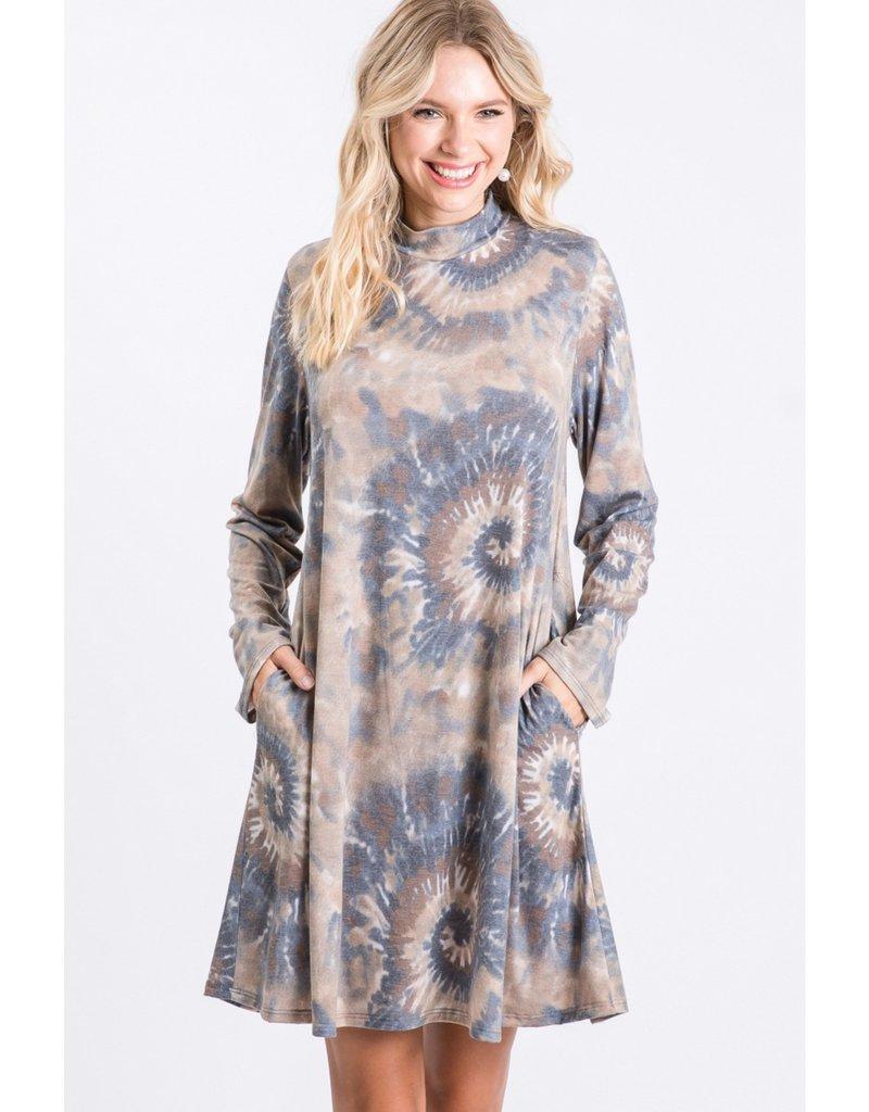 Spiral Tie-Dye Mock Neck Dress