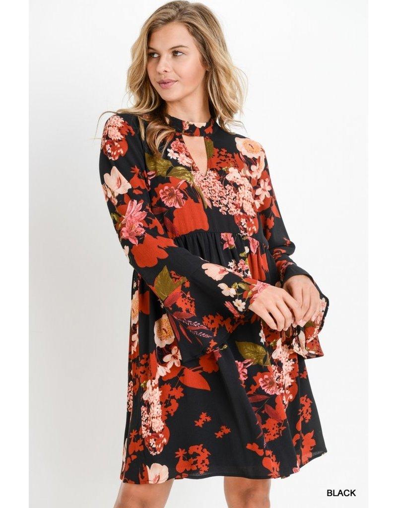Floral Mock Neck Dress