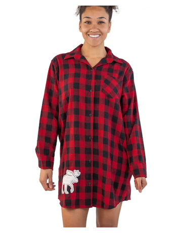 Flannel Moose Plaid Nightshirt