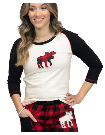 Moose Plaid Junior PJ Tee