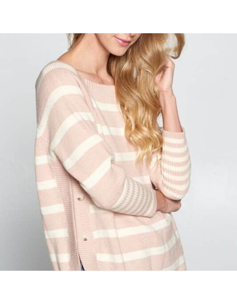 Side Button Stripe Sweater