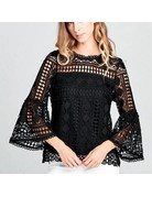 Lace Bell Sleeve Woven Top