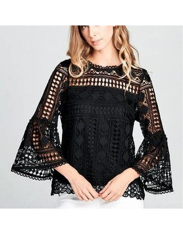 Ellison Lace Bell Sleeve Woven Top