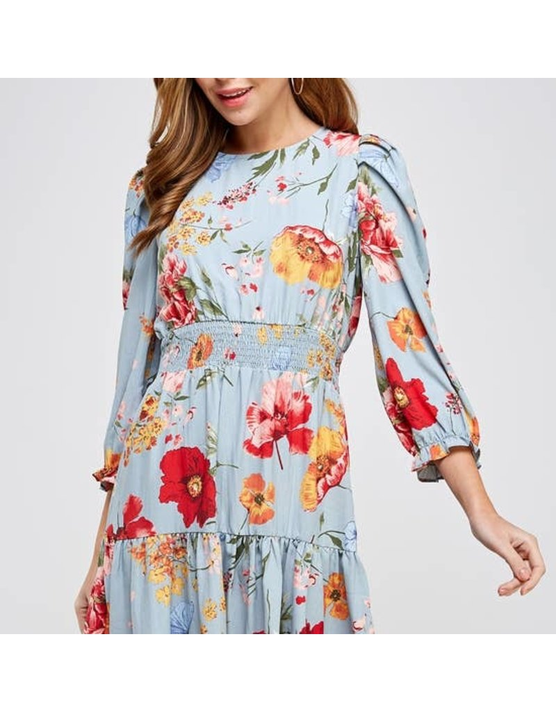 Romantic Floral Print Dress