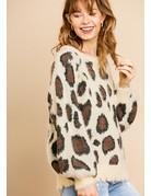 Animal Print Fuzzy Pullover