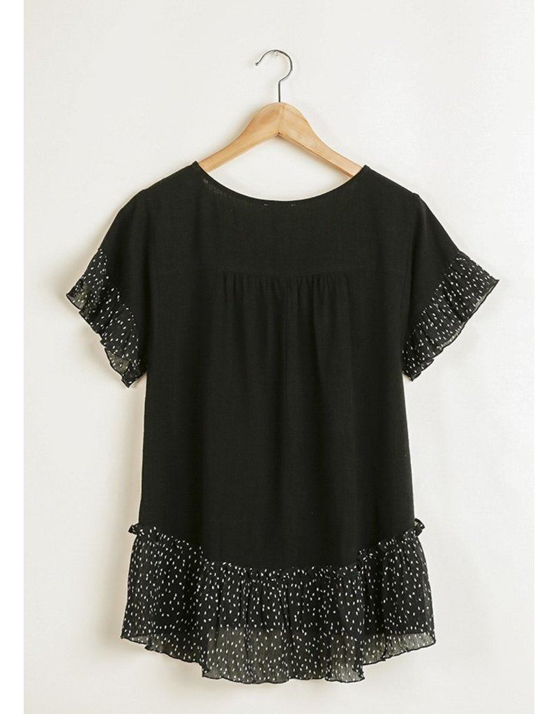 Bell Ruffle Top Polka Dot