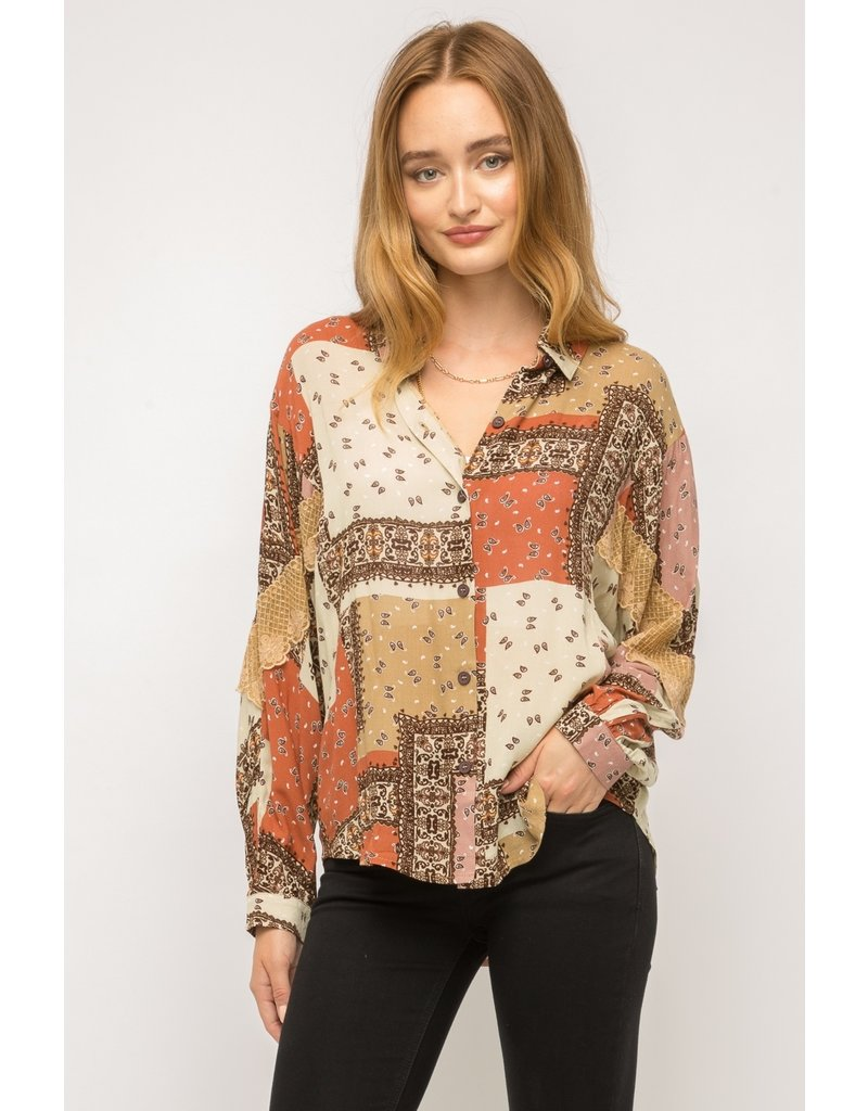 Mystree Lace Inset Patchwork Shirt