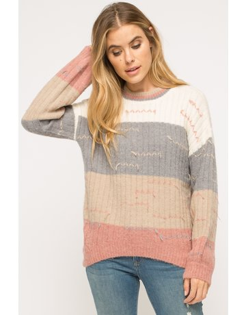 Color Block Pulled Sweater