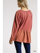 Mineral Washed French Terry Babydoll Top