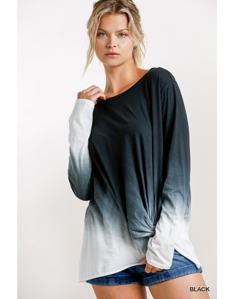 Ombre LS Top w/ Gathered Front Detail