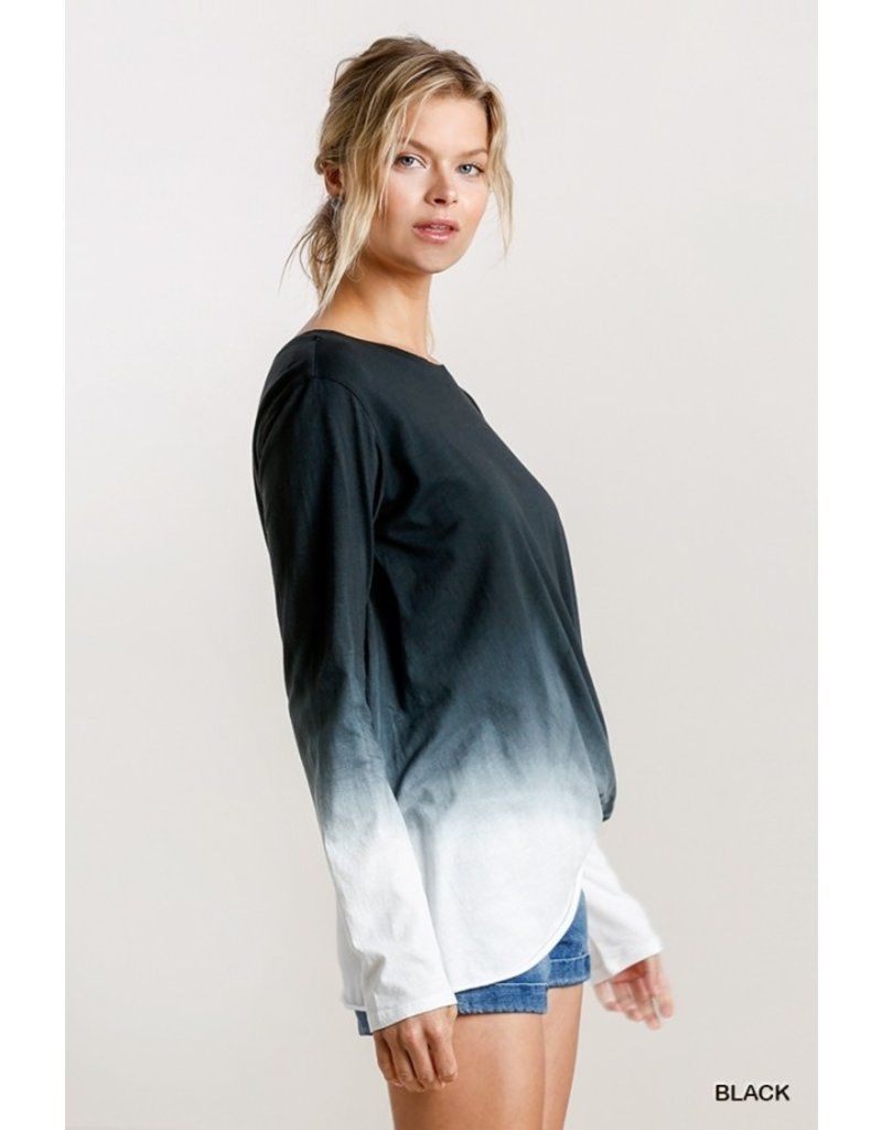 Umgee USA Ombre LS Top w/ Gathered Front Detail