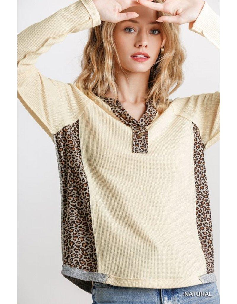 Animal Print Waffle Knit Top