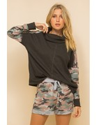 Camo Trimmed Cowl Neck Top