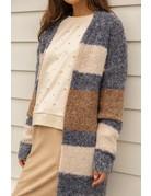 Boucle Yarn Stripe Cardigan