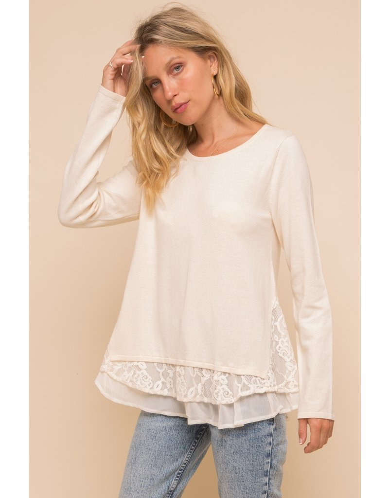 Flocking Lace & Chiffon Sweater