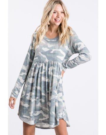 Ribbed Camo Babydoll Dress