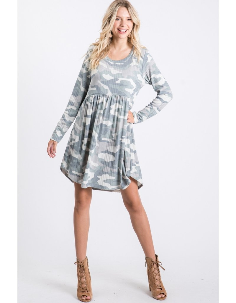 Ribbed Camo Babydoll Dress