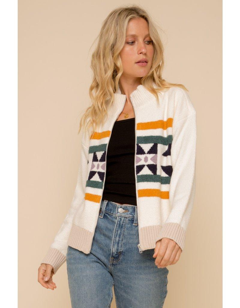 Zip Up Mock Neck Jacquard Jacket