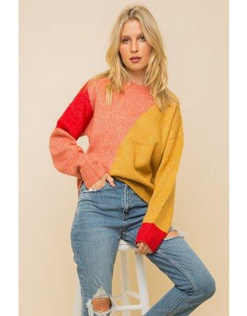 Hem & Thread Color Block Crew Neck Sweater