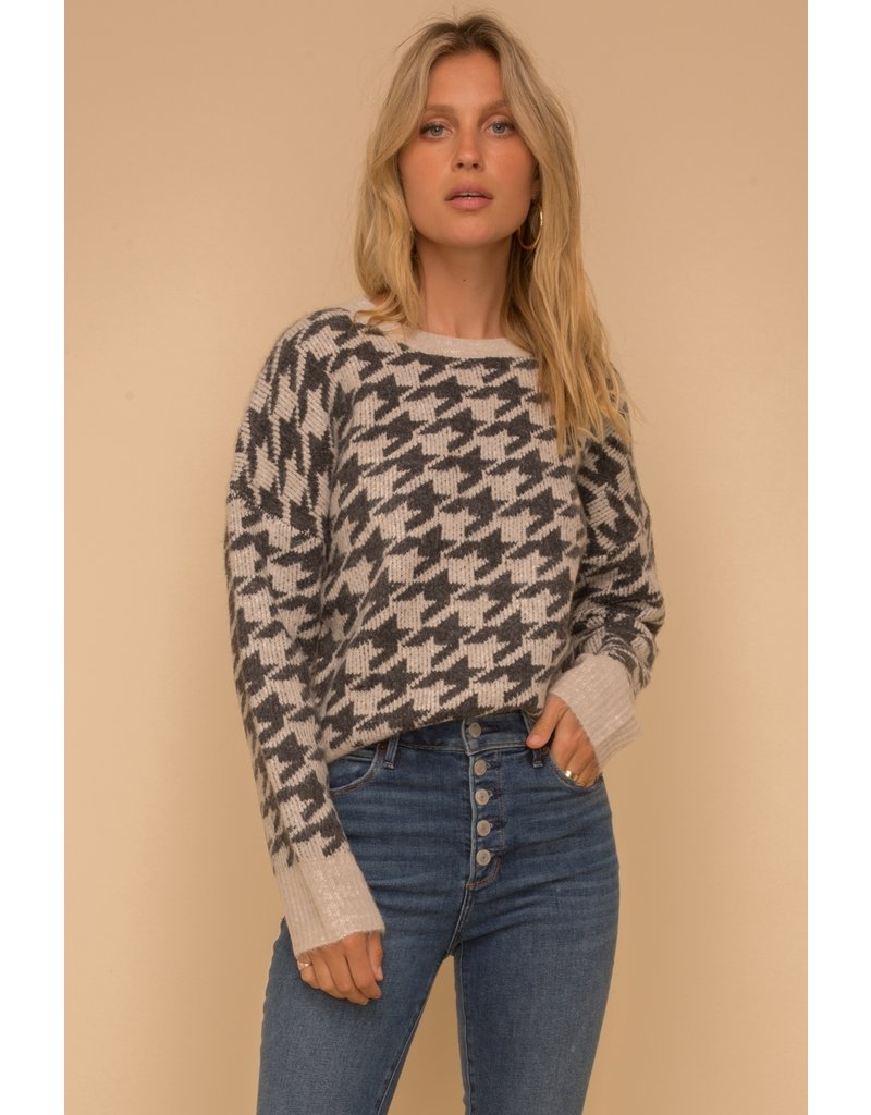 Houndstooth Jacquard Sweater