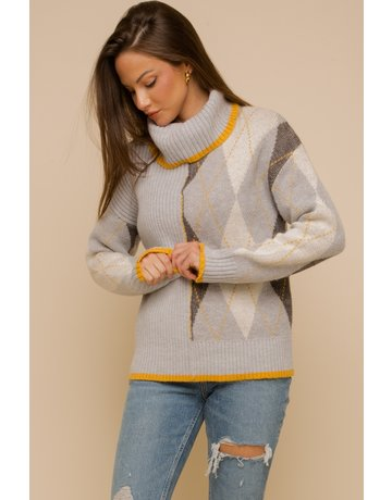 Argyle Rib Mix Turtleneck Sweater