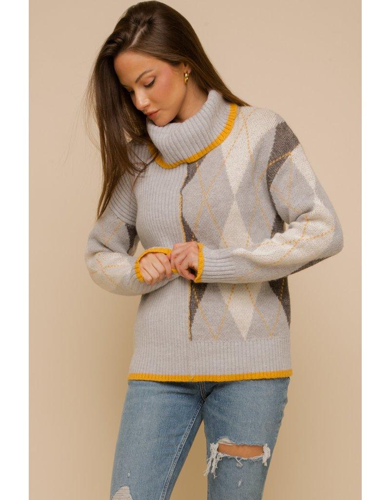 Argyle Rib Mix Turtleneck Sweater