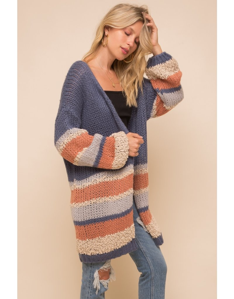 Hem & Thread Stripe Bottom Sweater Cardigan