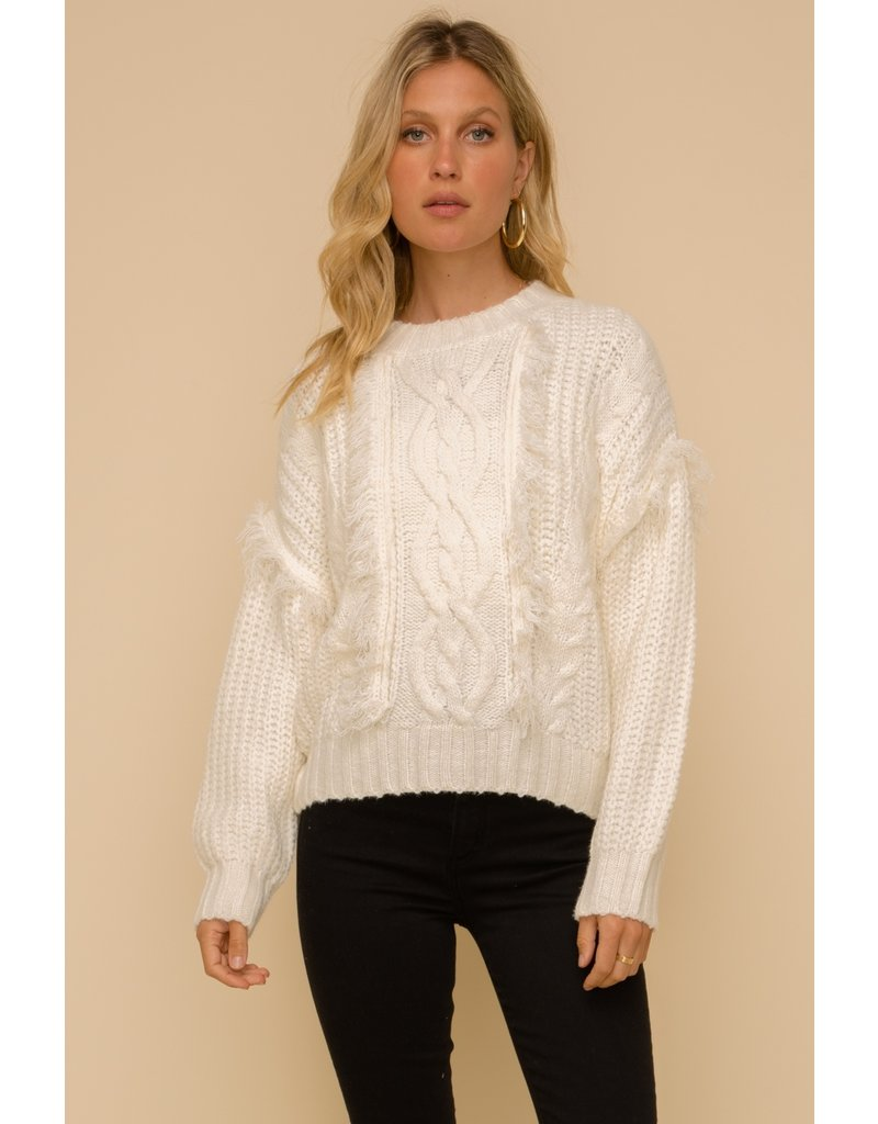 Hem & Thread Cable Knit Fringe Detailed Crew Neck Sweater