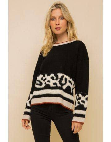 Hem & Thread Animal Color Block Crew Neck Sweater
