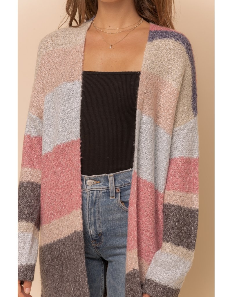 Hem & Thread Color Block Open Cardigan