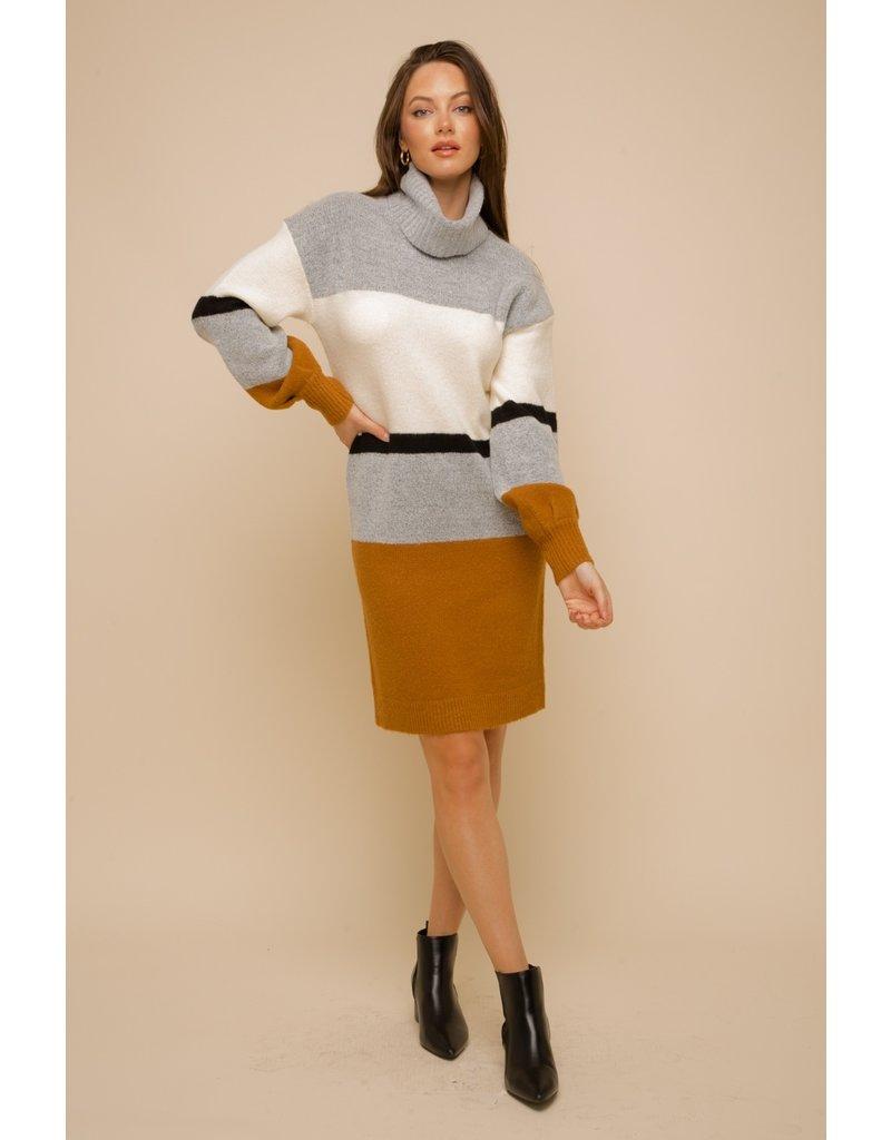 Hem & Thread Bubble Slv Turtle Neck Stripe Sweater Dress