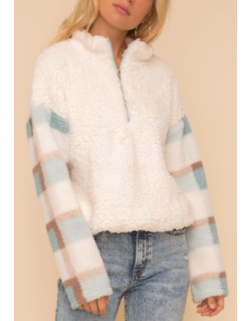 Hem & Thread Plaid Contrast Half Zip Fuzzy Pullover