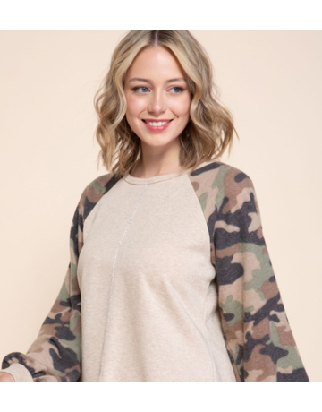 MittoShop Top w/Camouflage Sleeves