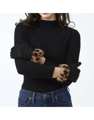 Tickled Pink Black Leopard Fuzzy Gloves