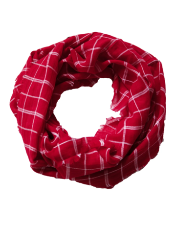 Tickled Pink Lightweight Plaid Infinity Crimson/White