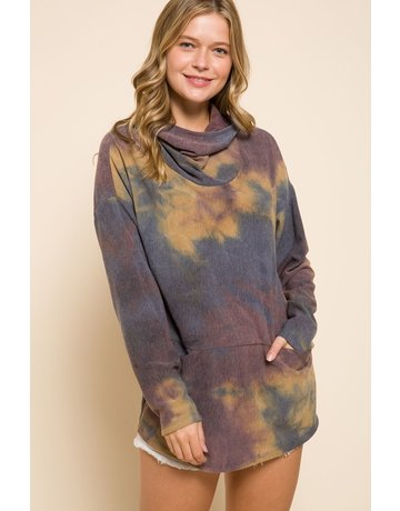 MittoShop Tie-Dye Hooded Top w/Front Pockets