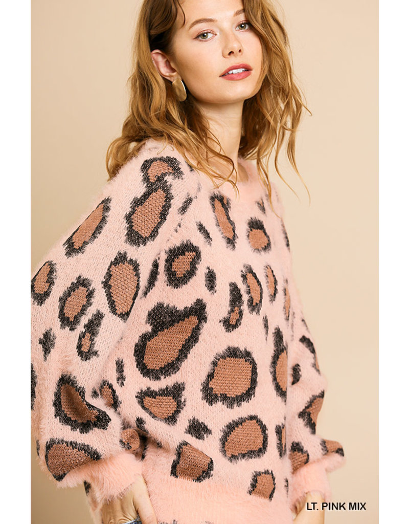 Umgee USA Animal Print Puff Sleeve Pullover