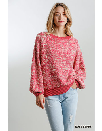 Umgee USA Round Neck Ribbed Pullover