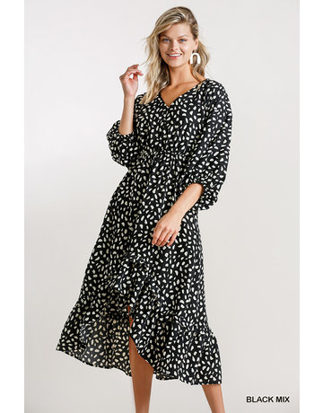 Umgee USA Dalmation Print Puff Sleeve Midi Dress