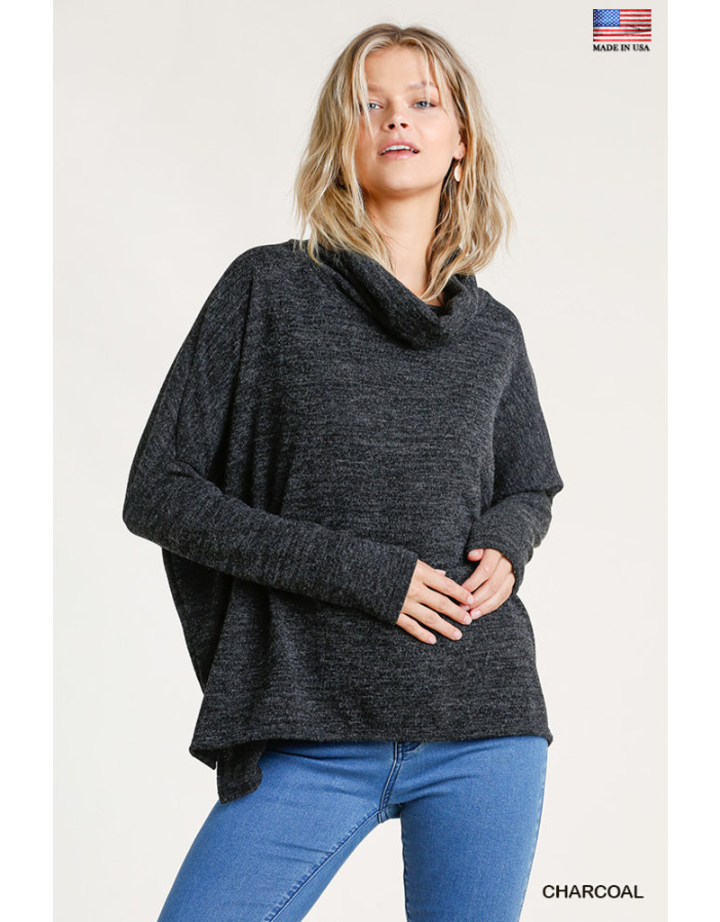 Umgee USA Turtle Neck LS Dolman Knit Top
