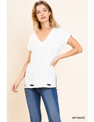 Umgee USA Gathered SS Vneck Top