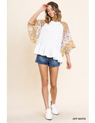 Umgee USA Floral Paisley Bell Slv Top